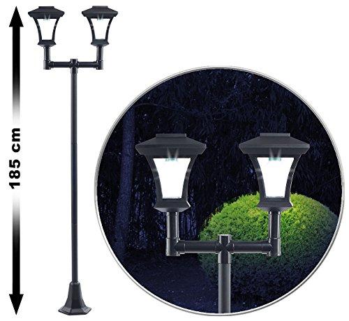 Royal Gardineer Gartenlampen: 2-flammige Solar-LED-Gartenlaterne, SWL-25, 0,36 W, 24 lm, 185 cm hoch (Solarstandleuchte)