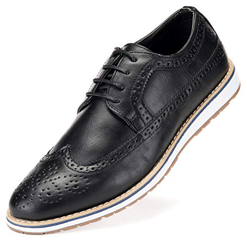 Mio Marino Everyday Casual Wingtip Oxford Shoes for Men - Black - 10 D(M) US