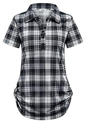 Sixother Women's Short Sleeve Cuffed Hem Turndown Collar Gingham Plaid Tunic Top