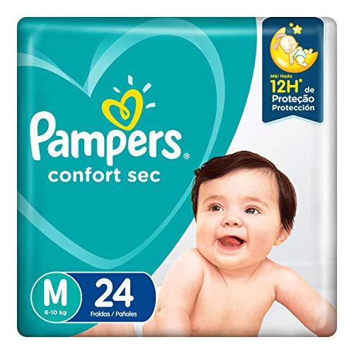 Fralda Infantil Pampers Confort Sec, Com 24 Fraldas Descartáveis, Tamanho M, PAMPERS CONFORT, M
