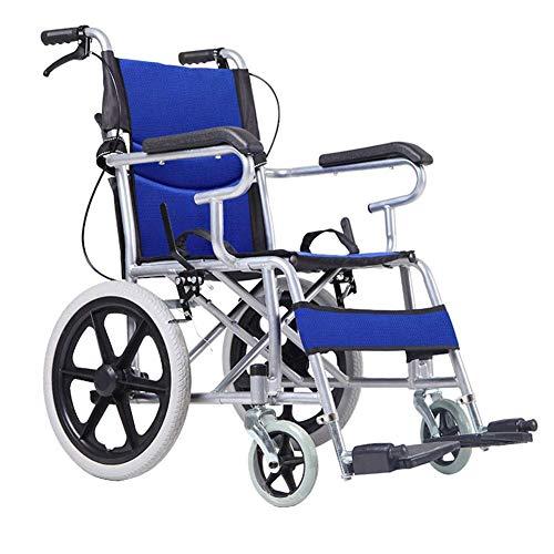 Yeeseu Silla de rehabilitación médica, silla de ruedas, silla de ruedas plegable de peso ligero de conducción médica, Estructura de silla de ruedas manual Plating mano empuje sillón de ruedas mayor Si