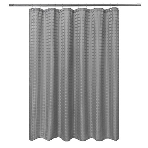 Barossa Design Fabric Shower Curtain Grey Hotel Grade, Water Repellent and Washable, 71 x 72 inches Brick Dobby Pattern for Bathroom