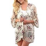 Behkiuoda Women Summer Chiffon Smock Printing Cardigan Blouse Tops Kimono Shawl Loose Beachwear Beige