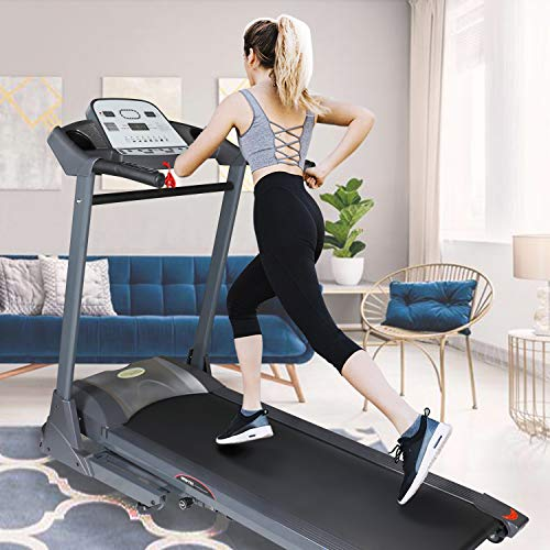 Folding Treadmill Electric Motorized Running Machine with Auto Incline LCD Display and Cup Holder 3-Level Manual Incline Easy Assembly Perfect for Walking and Running Exercise Fitness Machine Home Use
