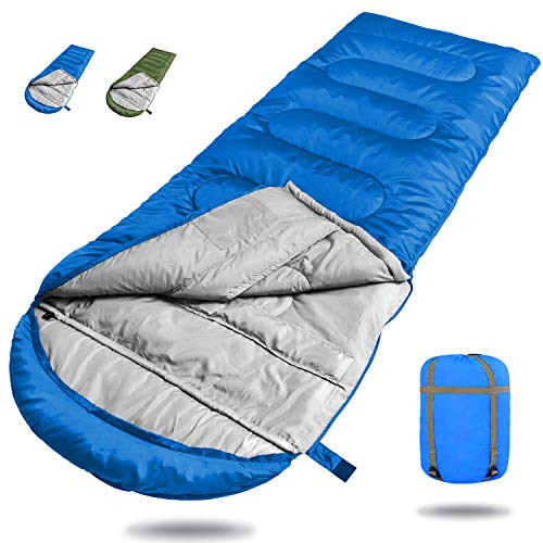 Deckenschlafsack,Hüttenschlafsack Schlafsack leichte Camping Schlafsack Winddicht Warm,3 Jahreszeiten,210 x 75cm,1KG,10~28°C mit Kompressionsbeutel,für Camping,Wandern, Reisen,Radfahren (Blau)