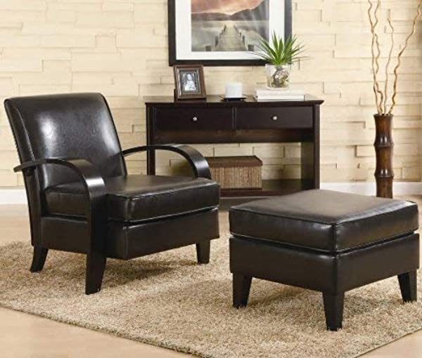 Roundhill Furniture Wonda Bonded Leather Accent Arm Chair With Ottoman Brown