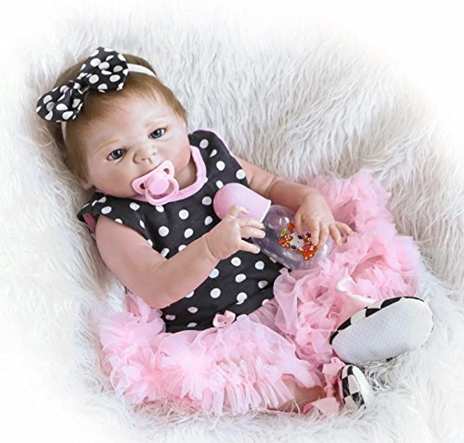 ZIYIUI 18 Inch 45cm Magnetic Mouth Realistic Looking Full Body Vinyl Silicone Baby Dolls Simulation Newborn Lifelike Baby Girl Toddler Gift Toy