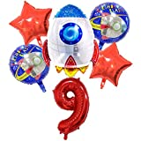 DIWULI, set di palloncini spaziali a grande razzo, palloncino in foil XL numero 9 rosso happy birthday 9° compleanno buon bambini, festa, decorazione, astronave, astronauta, pianeta, pallone numeri