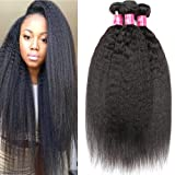 Mei You 9A Kinky Straight Hair 3 Bundles Yaki Human Hair Weave Unprocessed Brazilian Virgin Remy Sew in Hair Extensions Natural Black (10 12 14)