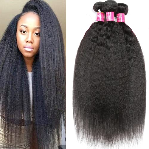 Mei You 8A Kinky Straight Hair 3 Bundles Yaki Human Hair Weave Unprocessed Brazilian Virgin Remy Sew in Hair Extensions Natural Black (10.12.14)