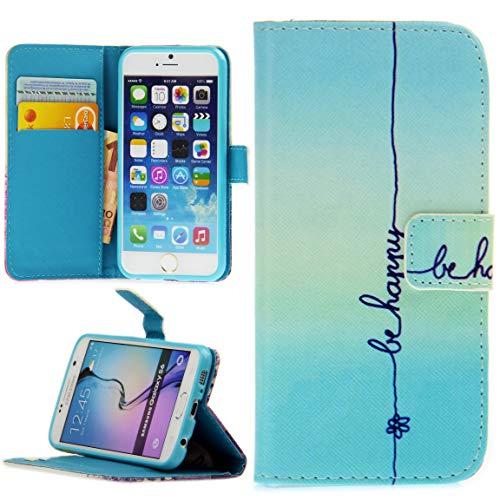 Handy Lux® Schutz Hülle Tasche Kartenfächer Flip Hülle Etui Cover Involto Motiv Design Hülle BookStyle für Apple iPhone 5 / 5S / SE, Be Happy