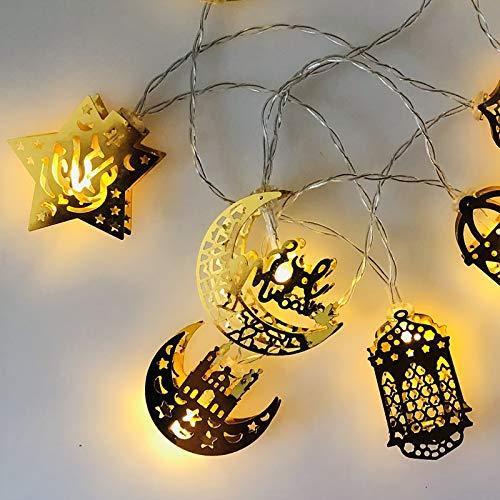 ONEVER Linternas de Ramadán musulmanes de cadena de luces Eid decoración de luz para festival, fiesta, dormitorio, cumpleaños (blanco cálido, 1,65 m, 10 LEDs) [Clase energética A+] 60