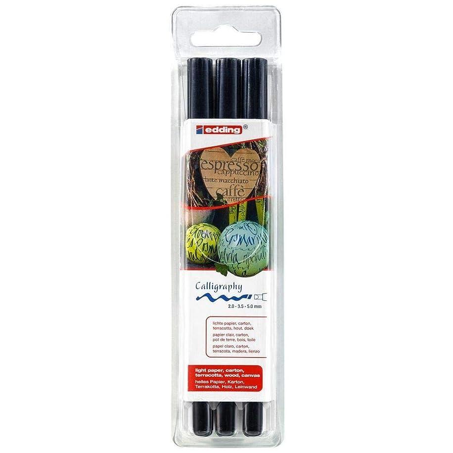 edding 1255 Calligraphy Pen Pack of 3 - Black