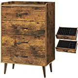 Rolanstar Drawer Dresser with 4 Wood Drawers, Storage Dresser with 4 Set Foldable Drawer Dividers, Rustic Chest of Drawer Bedroom Organizer with Anti-Tipping Device, Rustic Brown