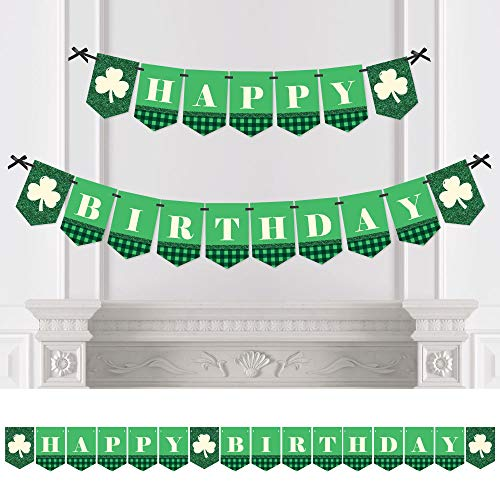 Big Dot of Happiness Irish Birthday - Shamrock Birthday Party Bunting Banner - Birthday Party Decorations - Happy Birthday