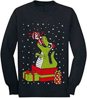 T-Rex Dinosaur Ugly Sweater Style Kids Long Sleeve T-Shirt