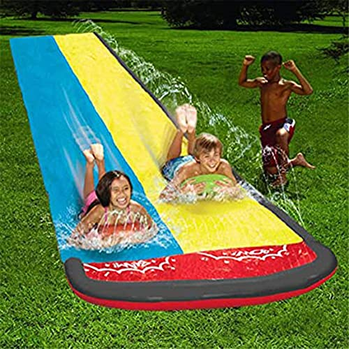 MISS YOU Tobogán de Agua para niños Adultos Jardín Racing Doble Agua Toboganes Mat con rociadores incorporados, Juguete de Verano Inflable de la Tabla de Surf para al Aire Libre