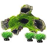 Smoothedo-Pets - Decoración para acuarios de pecera, tamaño pequeño, accesorios para pieles de peces artificiales de musgo/madera de deriva (tipo A)