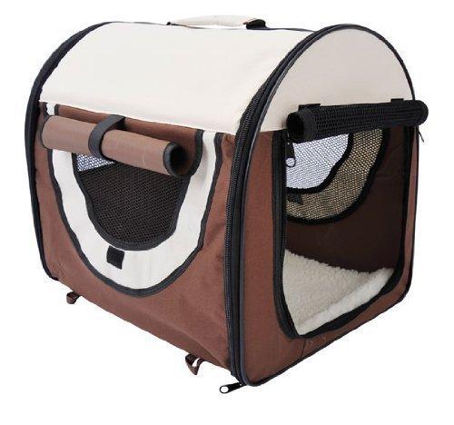 Outsunny PawHut Trasportino Gabbia da Trasporto per Cani Gatti e Animali Domestici Pieghevole 46x36x41cm caffè