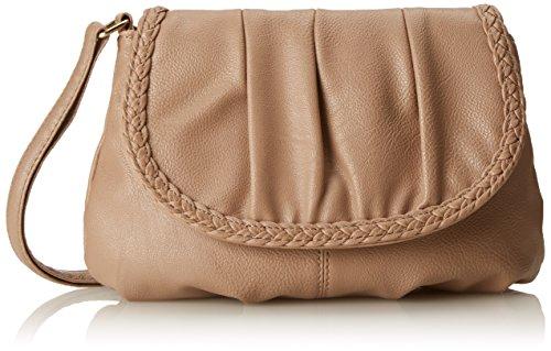 Kleine Damentasche Umhängetasche Citytasche Bag Schultertasche Handtasche Clutch 23 x 14 cm (Natur)