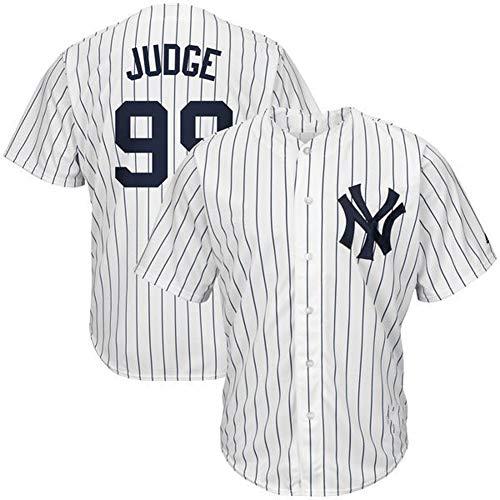 # 99 NYY Yankees Judge Camisa de béisbol para Hombres Jersey de béisbol para fanáticos Camiseta de Manga Corta Juego Uniforme del Equipo Top Abotonado Blanco Rayas Verticales M-3XL-#99White-L
