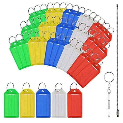 50x Schlüssel Schilder Set,MEZOOM Kunststoff Schlüsselanhänger ID Label Tags zum Beschriften in sortiert Farben mit Stahldraht + Werkzeug Tool