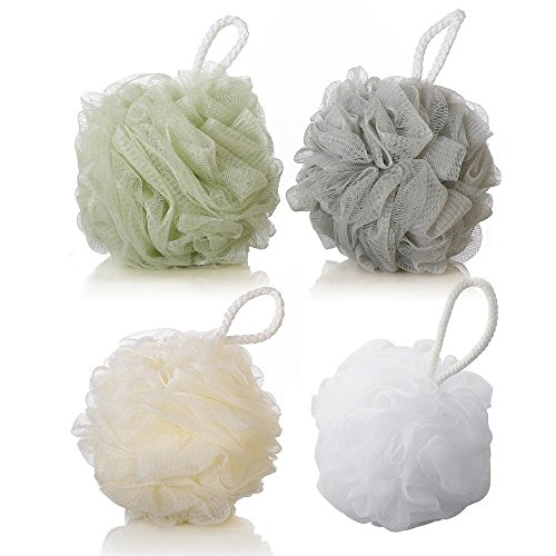 4 Pack Shower Body Sponge, Soft Bath Cleaning Sponges Daily Home Exfoliating Loofah Mesh Pouf Bath Ball with String Large Soft Shower Ball Dead Skin Brush Back Cleaner Bathroom Cleaners (4 Pack)