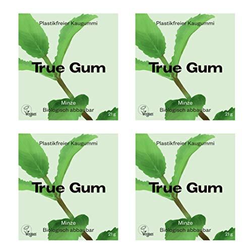 True Gum 4er SET: Minze | Plastikfreier Kaugummi | Biologisch Abbaubar | Vegan | 4 x 21g, 84g