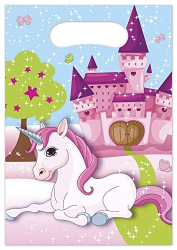 Bolsas de fiesta para cumpleaños de Procos 85721, para cumpleaños infantiles o fiestas temáticas, con unicornio, 6 bolsas