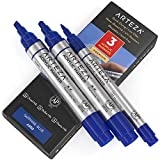 Arteza Acrylic Paint Markers, Pack of 3, A500 Sapphire Blue, 1 Thin and 2 Thick (Chisel + Bullet Nib) Acrylic Paint Pens, for Metal, Canvas, Rock, Ceramic Surfaces, Glass, Wood, and Fabric