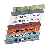 Replacement 8Pcs Sharpening Stones for RUIXIN Pro RX-008 Knife Sharpener Fixed-angle kit, Professional Whetstone Set Grindstone Polishing Stone without Base 80/240/400/800/1000/3000/5000/10000 Grit
