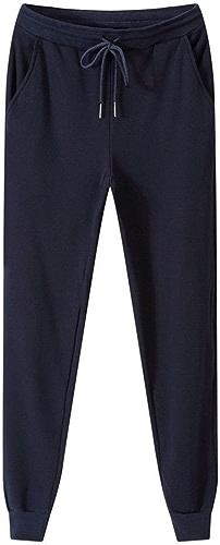 Dufjodi Pantalons de Coton pour Hommes d'occasionnels, Tirer sur l'élastique, Pur Cachemire décontracté Pantalon Stretch,Bleu foncé,4XL