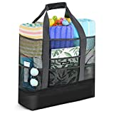 Mesh Beach Bag,Bymore Beach Bag for Women, Large Beach Tote Bag with Detachable Cooler - MAX Capacity 39L 150lbs Beach Gear