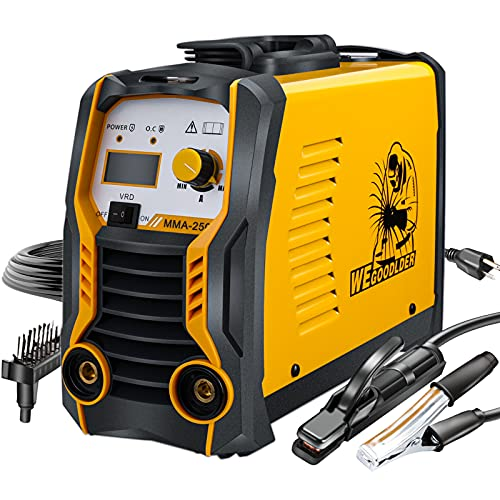 110V/220V Mini MMA Welder 200Amp ARC Stick Welding Machine IGBT Digital Display LCD Dual Voltage Welder with Electrode Holder Work Clamp Input Power and Adapter Cable