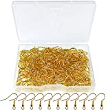 120pcs Earring Hooks with Ball and Coil, Hypo Allergenic Plated Gold Ear Wires with Transparent Storage Box, for DIY Jewelry Making