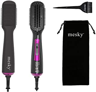 mesky Hot Air Brush, 4 in 1 Multi-function Hair Styling Tools, Negative Ion Infrared Hair Care Hair Dryer Brush for Dry, Straighten, Volumizer and Curling, Suitable for all hair types (Dark gray)