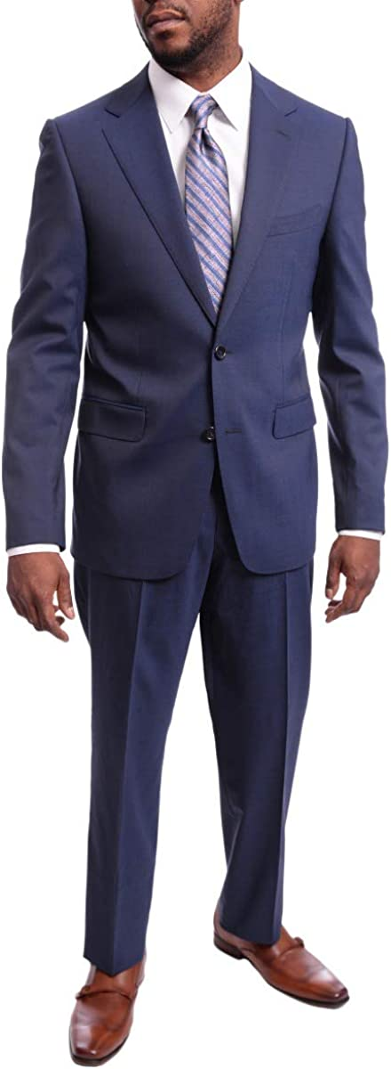 Napoli Men's Slim Fit Solid Blue Two Button Half Canvassed Italian Wool Suit