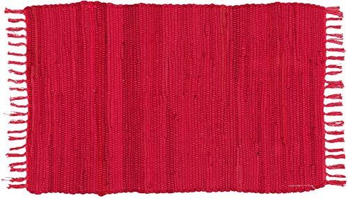 Alfombra Jarapa Roja, Estilo Hindu, Alfombra 100% Algodon, Alfombra de Colores con Flecos, Medida 50x80 [7351202-4]