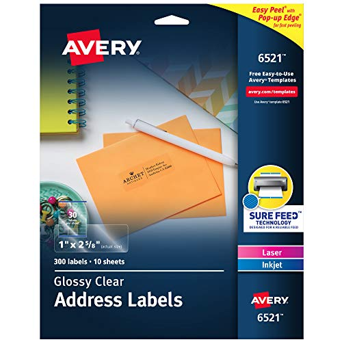 """Avery Glossy Crystal Clear Address Labels for Laser & Inkjet Printers, 1"""" x 2-5/8"""", 300 Labels (6521)"""
