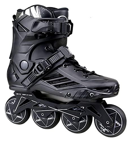 Patines Patines en línea adultos para mujeres y hombres, patines profesionales para niñas, niños, rodillo de fitness zapatos de patines en línea para principiantes unisex al aire libre interior (negro