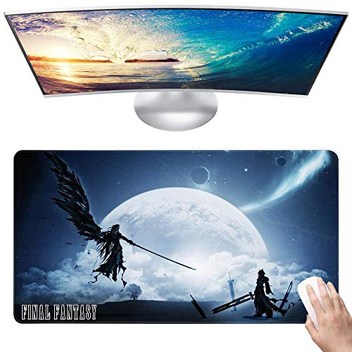 Final Fantasy Custom Made Anime Mouse Pad 15.8x29.5 Inch (40cmx75cm) Large Non-Slip Gaming Mouse Pad Rubber Stitched Edges Desk Mat for Office Home & Gamer