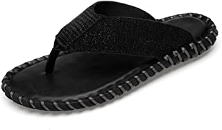 ZUAN Slippers for Men Flip-flops Perfunctory Slip On Style Microfiber Leather Simple Pure Colour Beach Outdoor