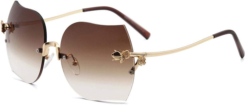 Retro Sunglasses, Frameless Sunglasses Female Gradient Elegant Borderless Glasses UV 400 Predection Metal Frame