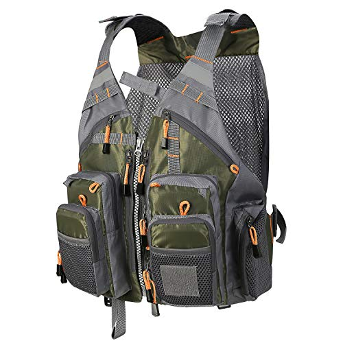 Pellor Fly Fishing Vest with Multi-Pockets Fishing Gear Outdoor Backpack Breathable Mesh Fishing Vest Jacket for Camping Hunting Photography
