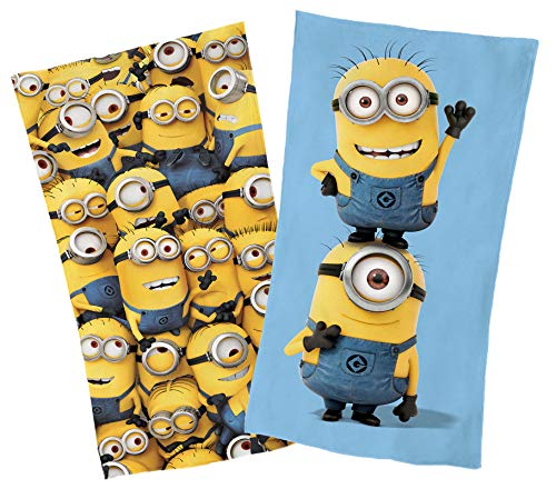 Global Labels Minions Strandtuch Set 2 Liegetücher Minions Fun & Crowd Velours 75x150 cm