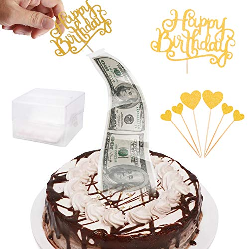 Money Box for Cake,Surprise Money Cake Pull out Kit,Cake ATM Money Box with Happy Birthday Cake Topper Glitter Heart,Food Contact Safe for Wedding Birthday Graduation Party Congratulations