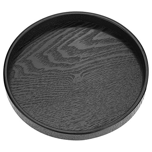 Vassoio da portata rotondo in legno, vassoio da ristorante per tè e caffè con bordi rialzati(24cm)