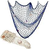 Red de Pesca Decorativa, Jicyor 2pcs Beige y Azul Decoración Marítima con Conchas para Fiesta Hogar Sala Estar Dormitorio Estilo mediterráneo Pared (200 cm x 150 cm)