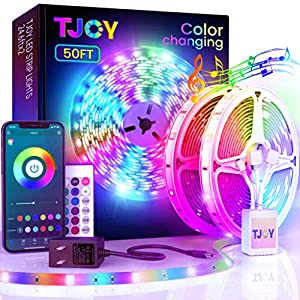 50ft Bluetooth LED Strip Lights, Music Sync 5050 LED Light Strip RGB Color Changing LED Lights Strip with Phone Remote, LED Lights for Bedroom Kitchen TV Party TIKTOK DIY (APP+Remote +Mic)