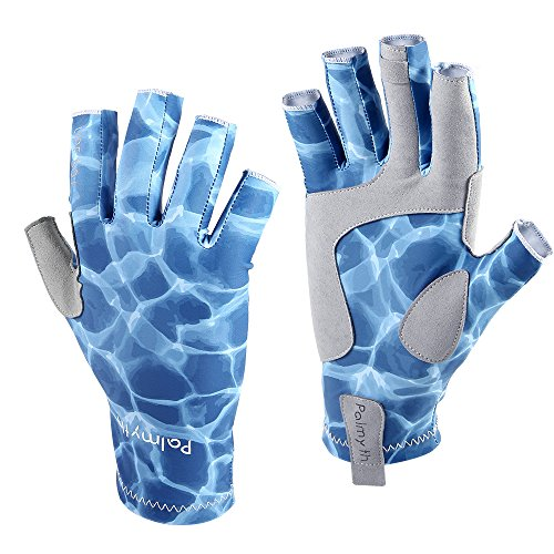 Palmyth UV Protection Fishing Fingerless Gloves UPF50+ Sun Gloves Men Women for Kayaking, Hiking, Paddling, Driving, Canoeing, Rowing (Aqua Sky, Medium)